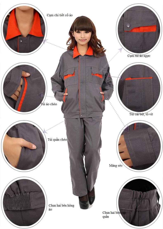 Hình ảnh mô tả các cụm chi tiết của quần áo bảo hộ lao động cho công nhân