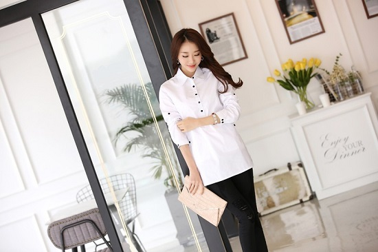 Đồng phục sơ mi nữ trắng dáng dài, thời trang, cá tính phù hợp cho văn phòng, công sở, dạo phố8