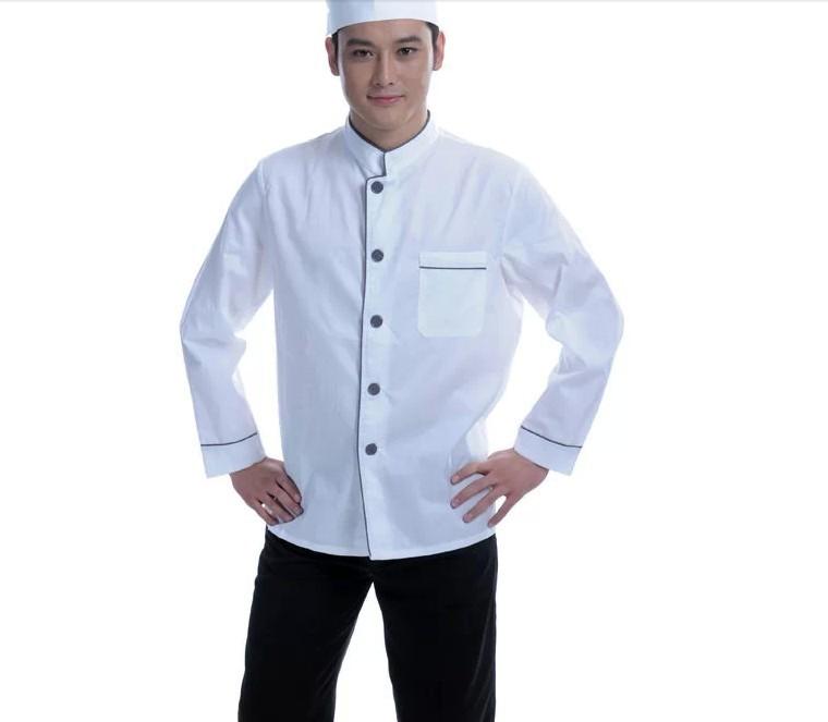 Mẫu đồng phục đầu bếp trắng phối đen