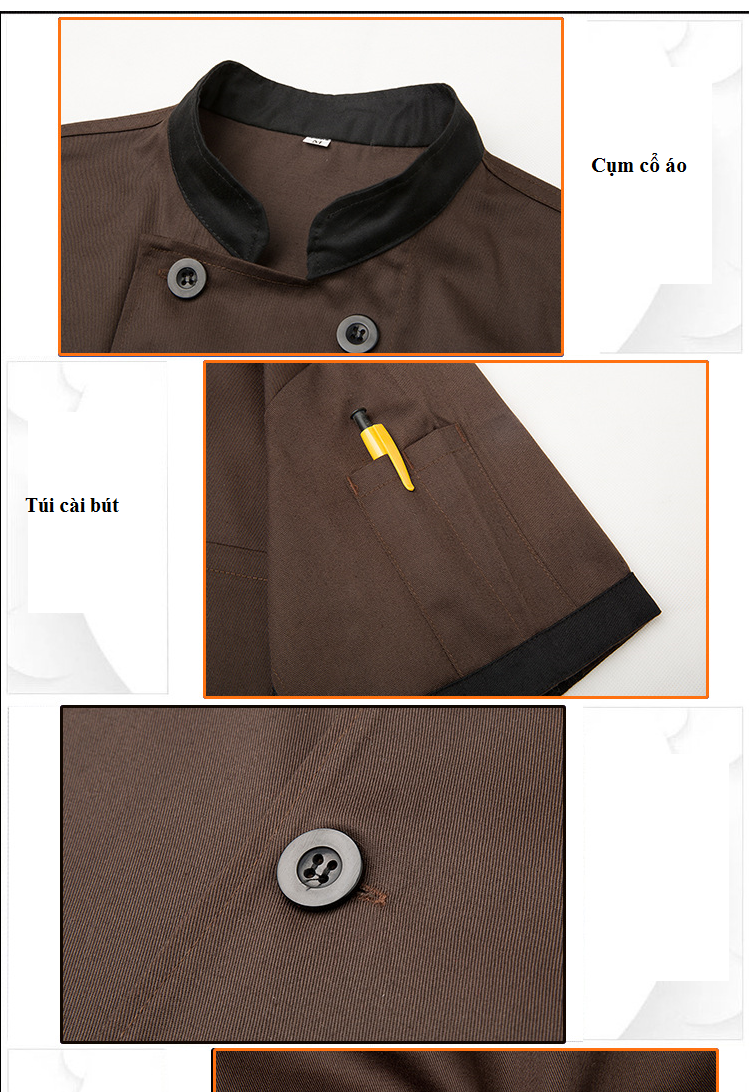 Các chi tiết của mẫu đồng phục đầu bếp 01 được may tỉ mỉ, chắc chắn