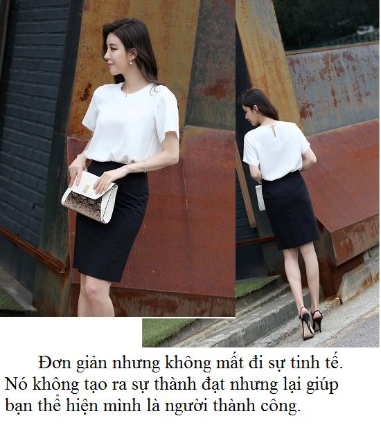 chân váy chữ a đen kết hợp với sơ mi trắng