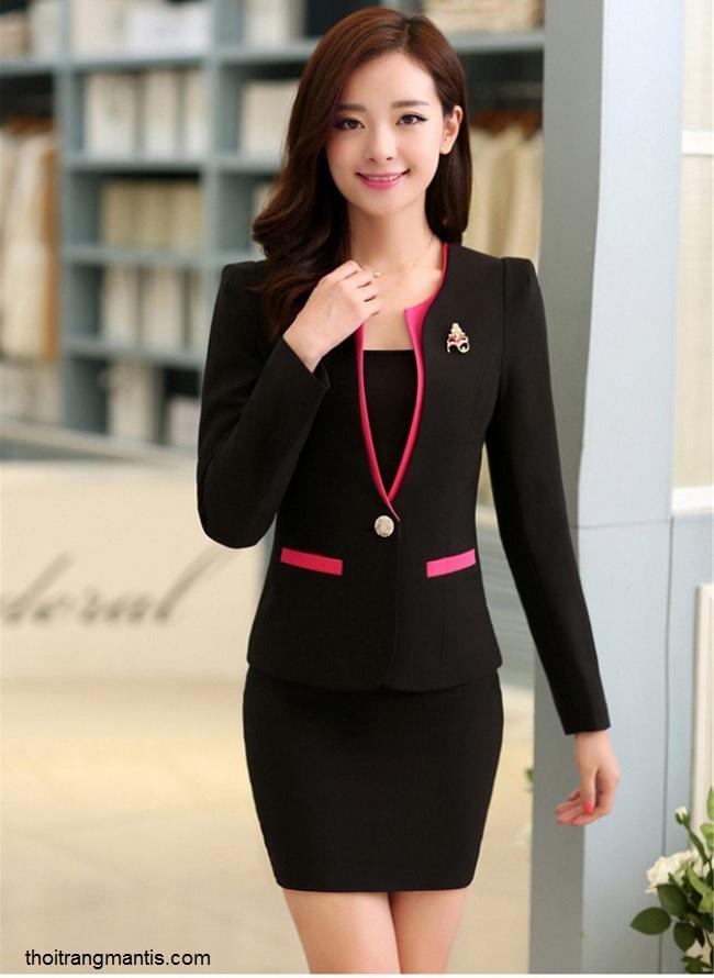 đồng phục vest nữ đen phối hồng sen 064