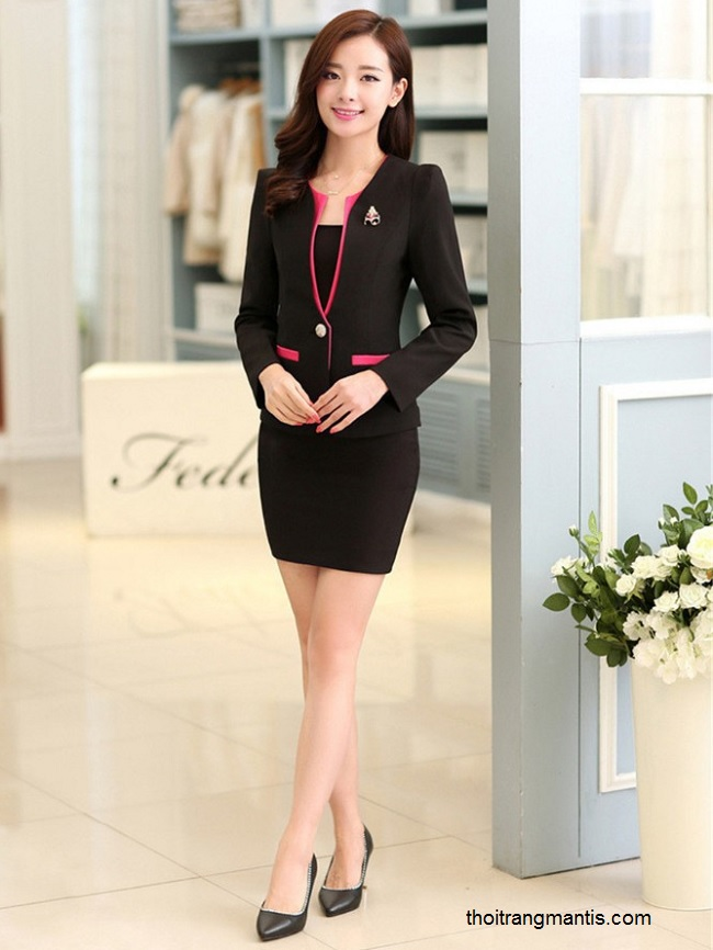 đồng phục vest nữ đen phối hồng sen 063