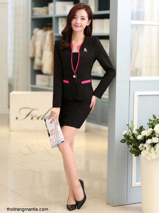 đồng phục vest nữ đen phối hồng sen 062