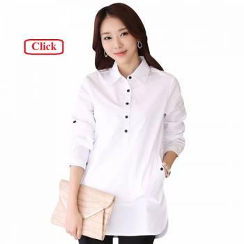 đồng phục sơ mi nữ dáng dài trắng đẹp, rẻ