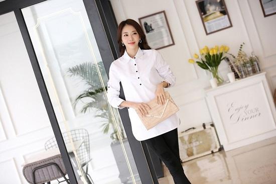 Đồng phục sơ mi nữ dáng dài, thời trang, cá tính phù hợp cho văn phòng, công sở, dạo phố23