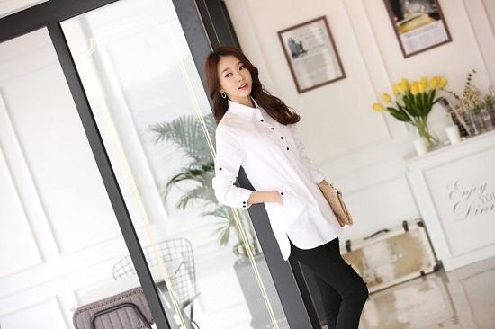 Đồng phục sơ mi nữ dáng dài, thời trang, cá tính phù hợp cho văn phòng, công sở, dạo phố5