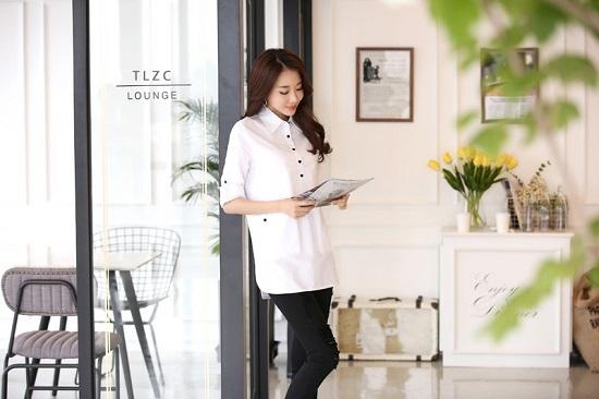 Đồng phục sơ mi nữ dáng dài, thời trang, cá tính phù hợp cho văn phòng, công sở, dạo phố6