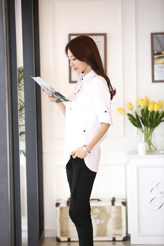 Đồng phục sơ mi nữ dáng dài, thời trang, cá tính phù hợp cho văn phòng, công sở, dạo phố7