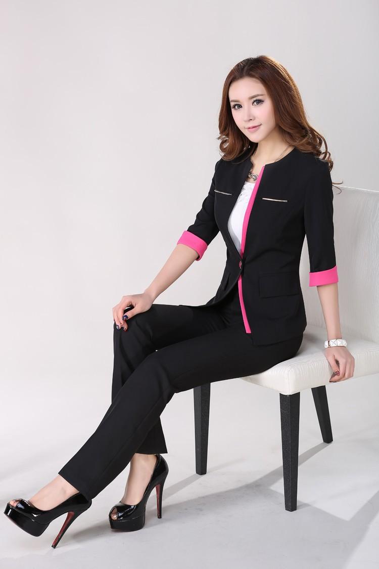 Đồng phục vest nữ 6 không ve cổ phù hợp cho nữ công sở