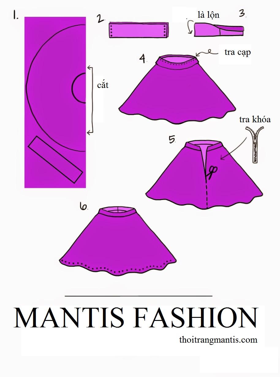 Mô tả thiết kế và quy trình may váy quây.