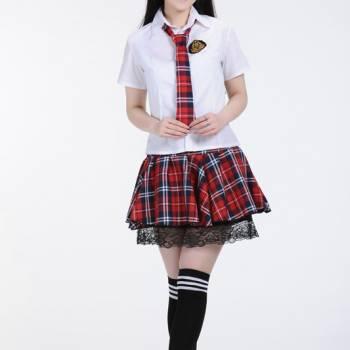 Đồng phục học sinh cấp 3 áo sơ mi nữ và váy xếp ly