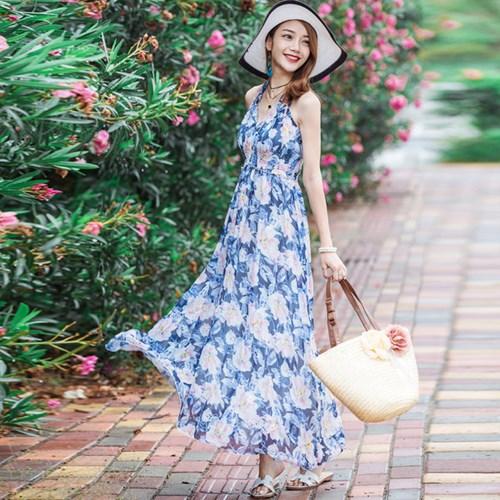 váy maxi họa tiết có hoa