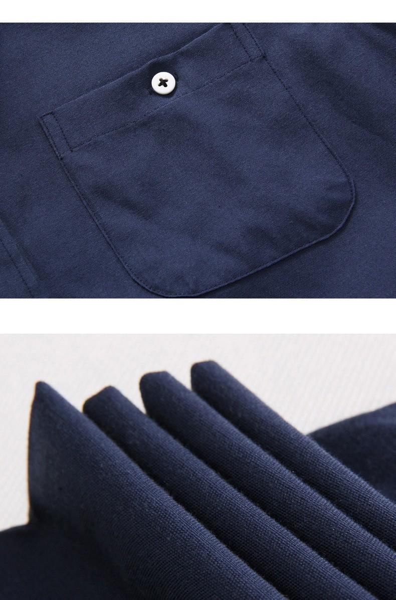 Vật liệu sử dụng cho mẫu sơ mi nam xanh navy 100% cotton.
