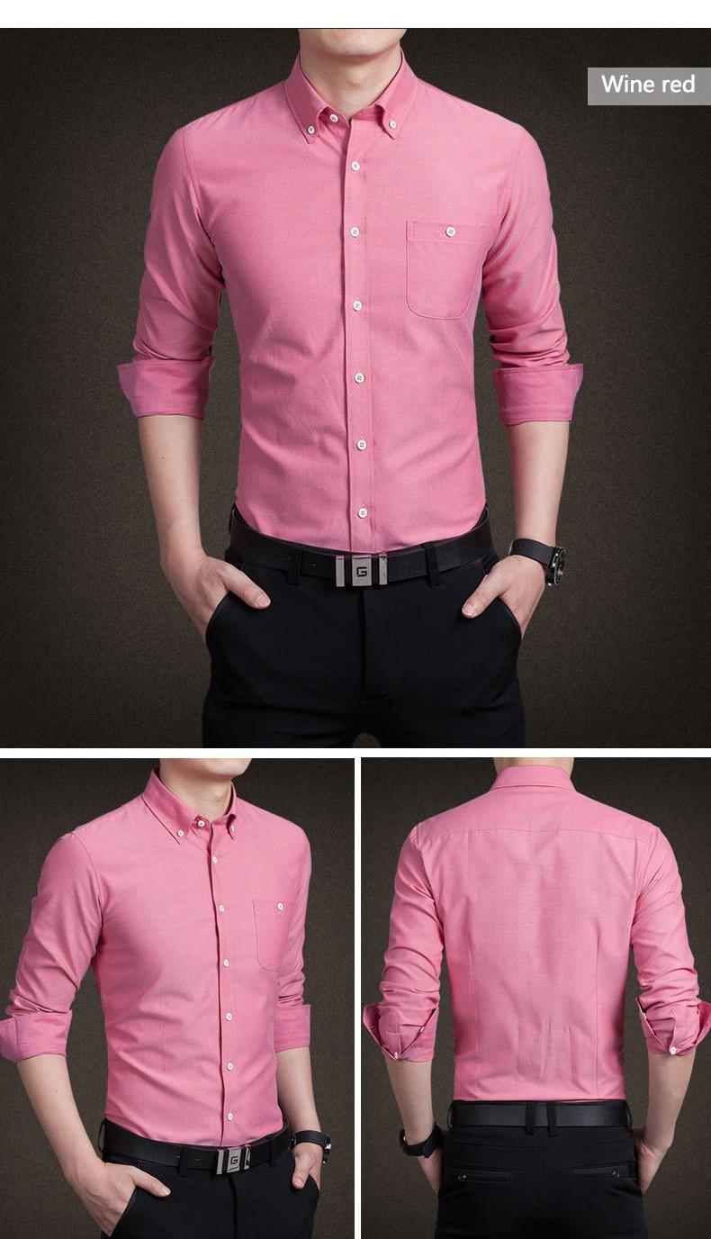 Hình ảnh trước và sau của sản phẩm sơ mi nam mầu đỏ vang. Với thiết kế body, nẹp liền, túi ngực trẻ trung năng động.