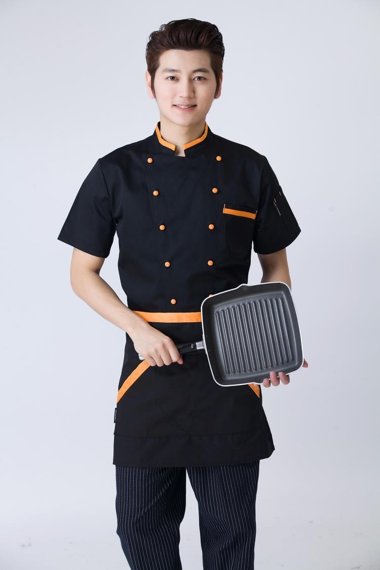 Mẫu áo đồng phục bếp đen phối cam