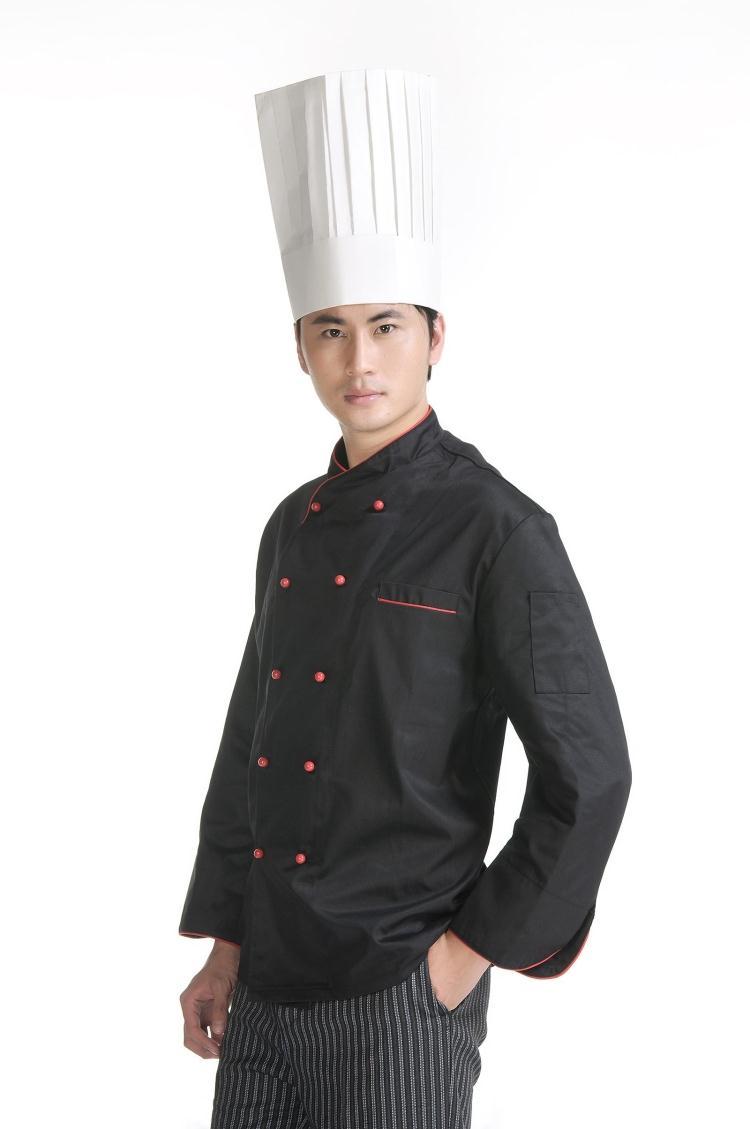 Màu đen sang trọng, lich sự của mẫu áo đầu bếp 08