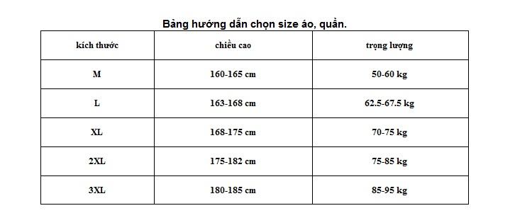 Bảng hướng dẫn chọn size đồng phục áo đầu bếp nam