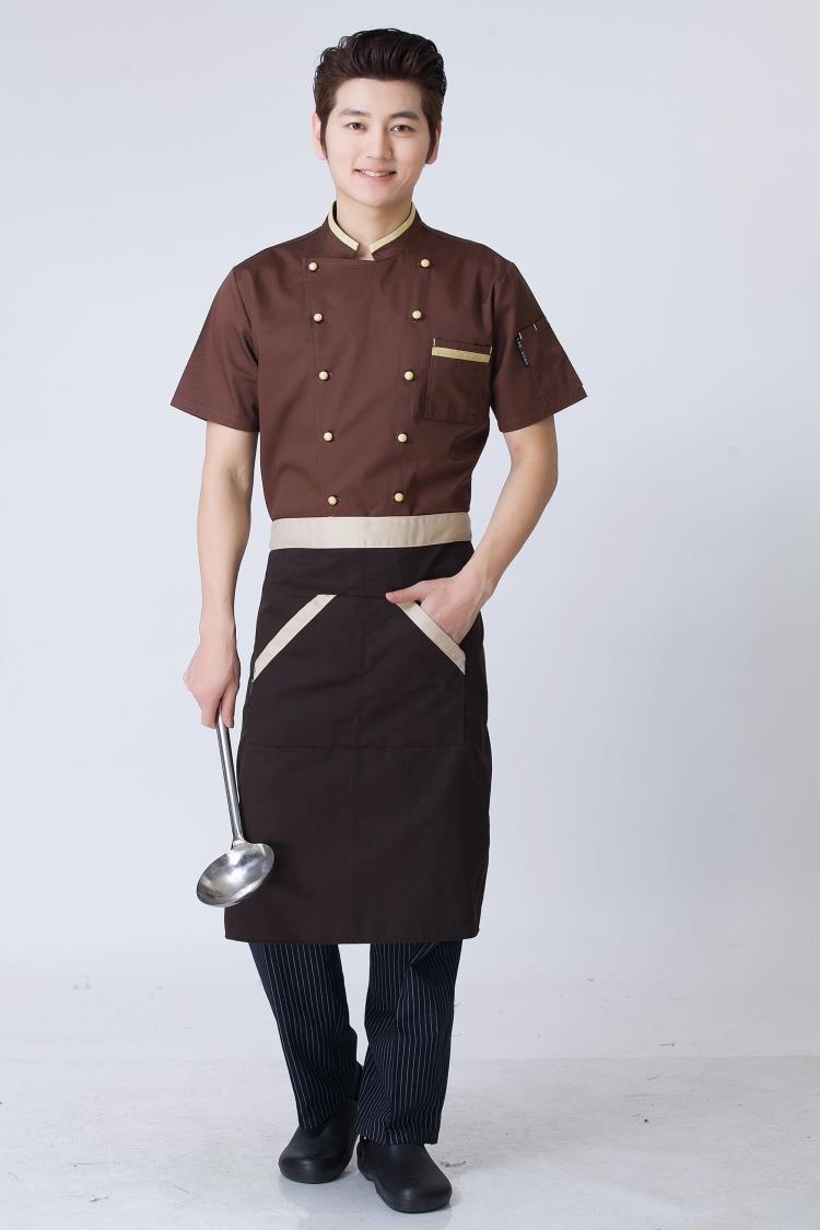 Áo đầu bếp nam màu nâu cà phê