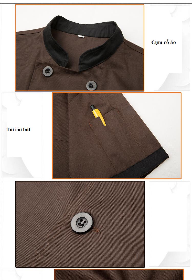 Chi tiết mẫu áo đầu bếp nam - Đồng phục Mantis