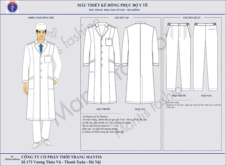 đồng phục y tế-bác sỹ nam dài tay. Áo blouse cổ bẻ Danton, cài cúc giữa, dài tay hoặc ngắn tay, chiều dài áo ngang gối, phía trước có 3 túi, có khuy cài biển tên trên ngực trái, phía sau xẻ giữa tới ngang mông.