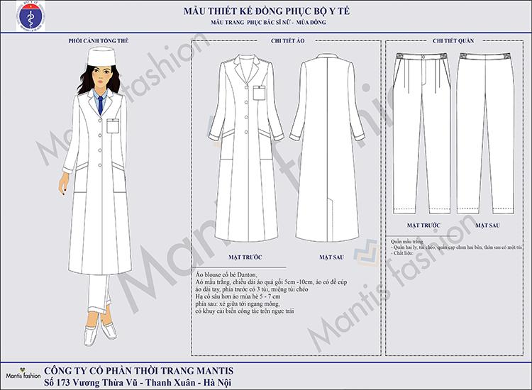 đồng phục y tế- bác sỹ nữ dài tay. Quần âu hai ly, 2 túi chéo, quần nam có 1 túi sau.