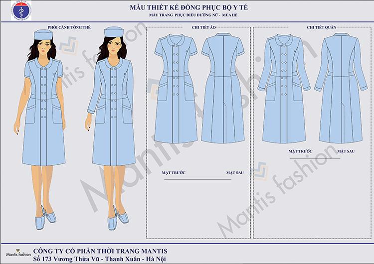 Mẫu đồng phục điều dưỡng nữ mùa đông-hè