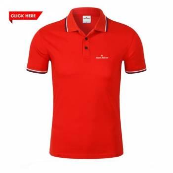 Đồng phục áo phông cổ trụ màu đỏ né đen