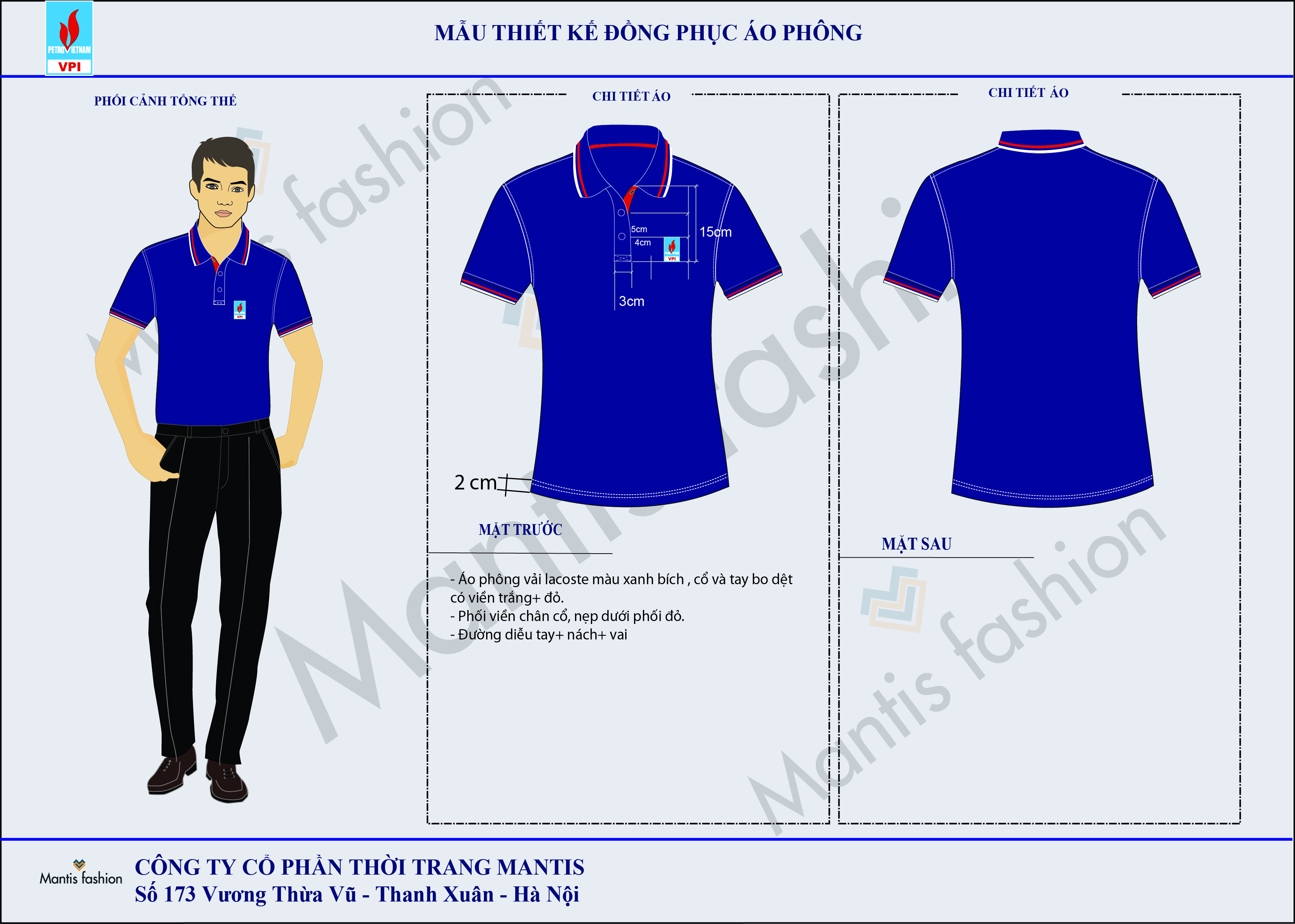 đồng phục áo phông cổ bẻ 011 - Thời trang Mantis