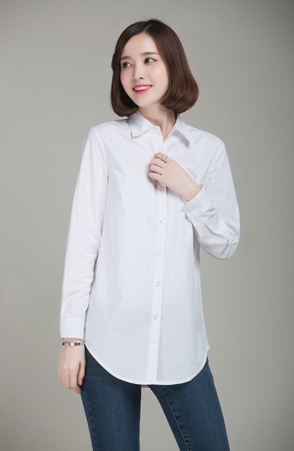 mẫu áo sơmi trắng công sở phong cách oversized