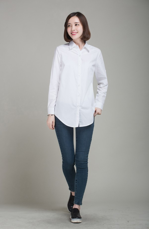 mẫu áo sơmi trắng công sở phong cách oversized. Ảnh 5