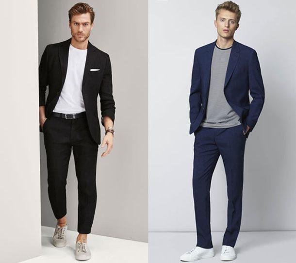 """Để phối cho """"vô bài"""", bạn phải chú ý đến độ vừa vặn của bộ suits cùng sự tương tác màu sắc giữa suits và áo thun"""