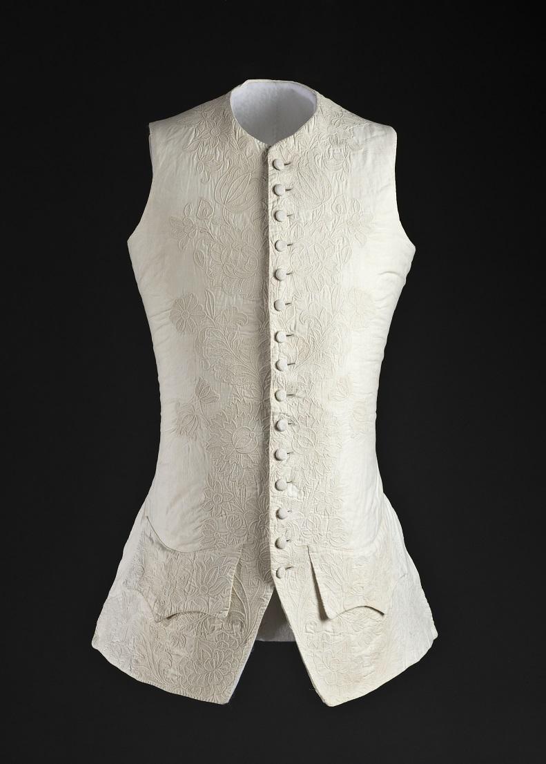 Áo gi lê của nam, được may tại Anh, khoảng năm 1760.