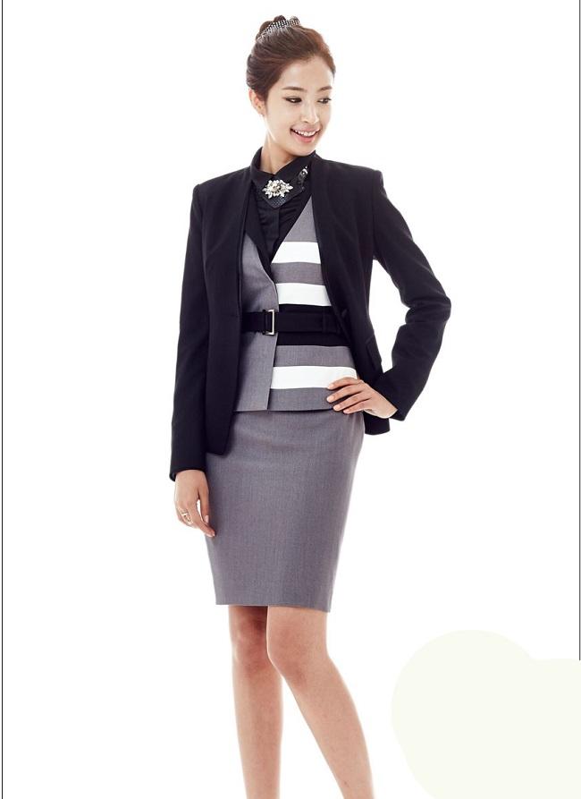 Đồng phục gile nữ ghi phối đen trắng đẹp - Hình ảnh 1