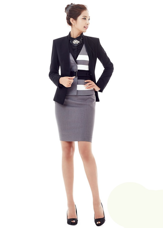 Đồng phục gile nữ ghi phối đen trắng đẹp - Hình ảnh 2