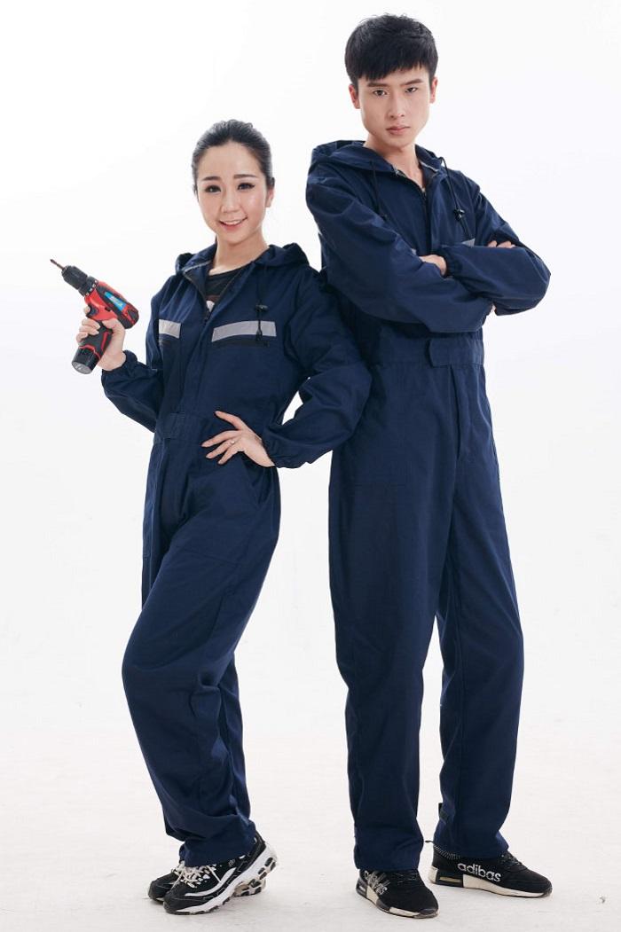 Quần áo bảo hộ lao động dài tay màu xanh đậm