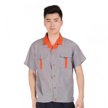 Quần áo bảo hộ lao động màu xám, cộc tay cho công nhân