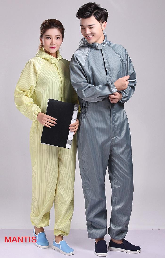Quần áo chống tĩnh điện dạng áo liền quần, an toàn, tiện lợi