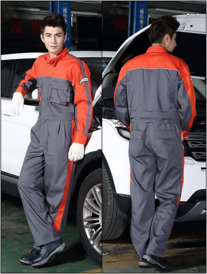 Quần áo kỹ sư sửa chữa máy móc màu xám - cam