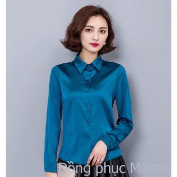 Đồng phục sơ mi nữ mầu xanh lục đẹp 2017