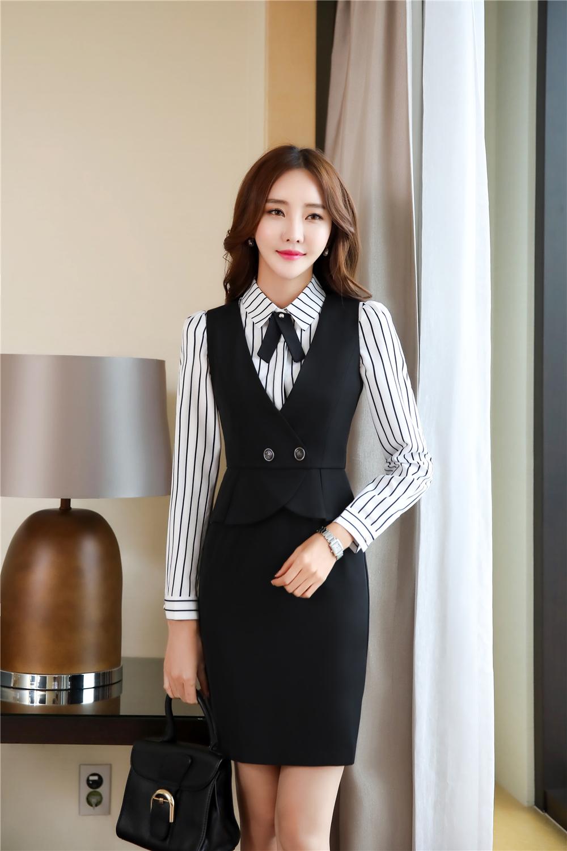 mẫu đồng phục công sở nữ đẹp cho thu đông 2017. set đồng phục công sở nữ gồm gile khoét nách và sơ mi.
