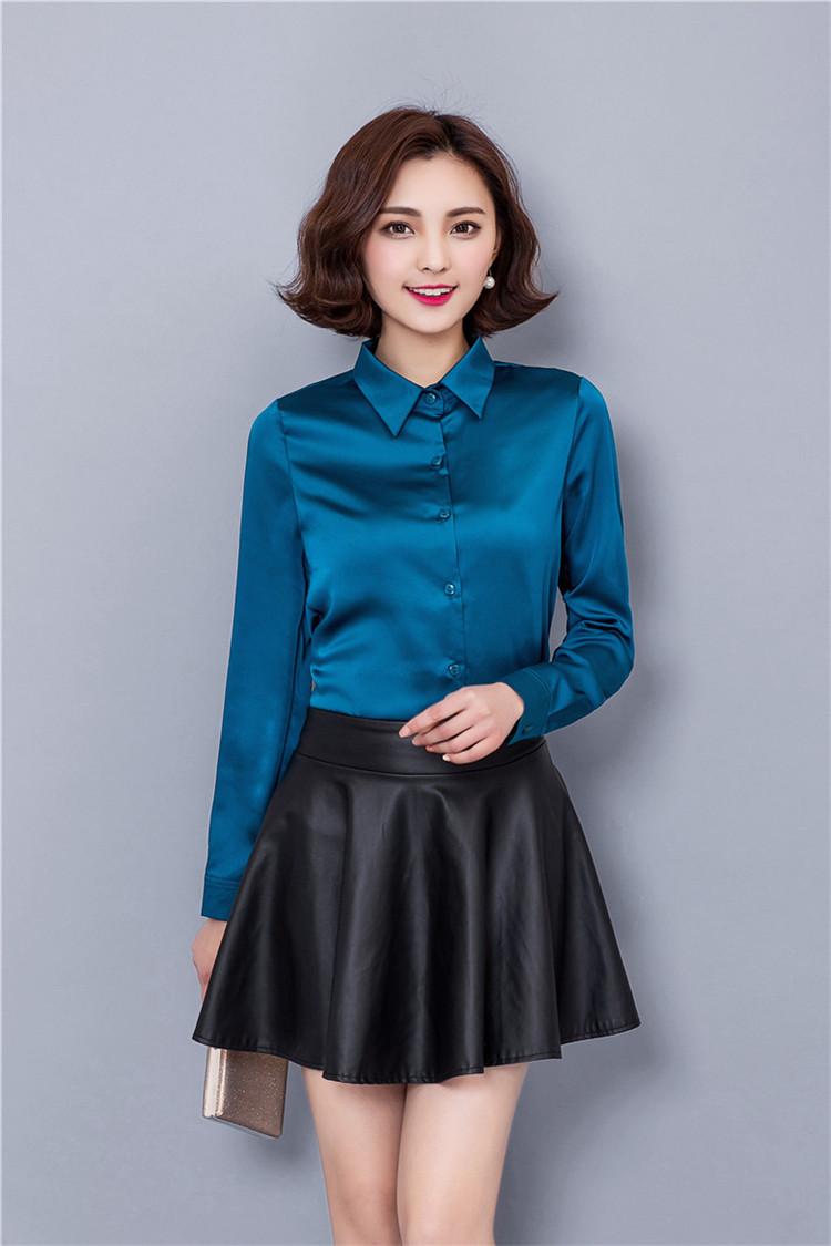 Mẫu đồng phục sơ mi nữ mầu xanh lục đẹp cho nàng công sở thu đông 2017-2018