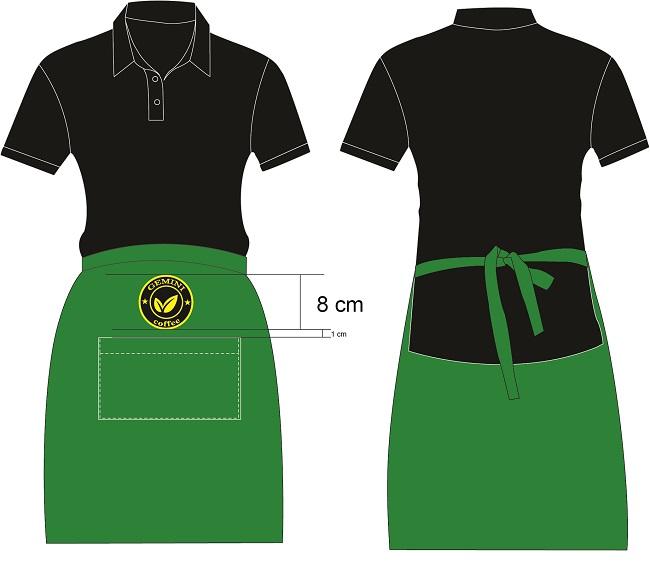Mẫu thiết kế đồng phục tạp dề quán cà phên Gimini