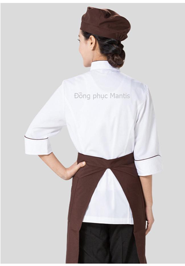 áo bếp bán sẵn, ảnh chụp phía sau sản phẩm.
