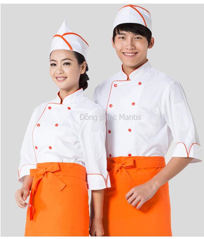 áo bếp bán sẵn trắng phối cam