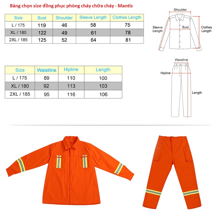 Bảng chọn size đồng phục pccc