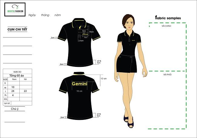 Mẫu thiết kế đồng phục áo phông quán cà phên Gimini