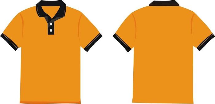 Áo phông đồng phục công sở màu cam phối đen