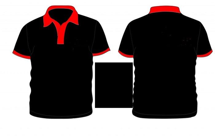 Áo thun đồng phục công sở đen phối đỏ
