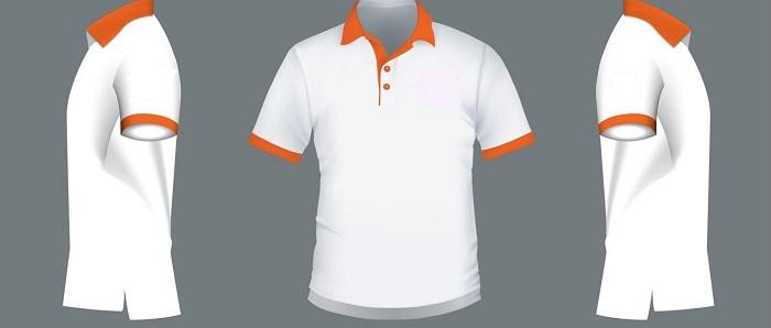 Mẫu thiết kế áo phông công sở trắng phối cam